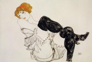 Egon+Schiele+-+Woman+in+Black+Stockings+(Valerie+Neuzil)+