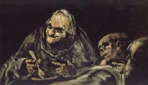 "Goya painting titled ""Old Men"" one of the Black Paintings"